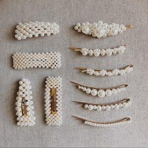 Accessories - Pearl Gold Hair Clip Set